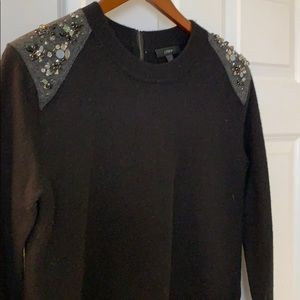 Beautiful JCrew Jewel Detailed Shoulder Sweater